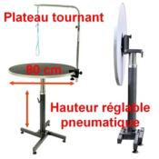 Table de toilettage Pneumatique plateau tournant 80 cm